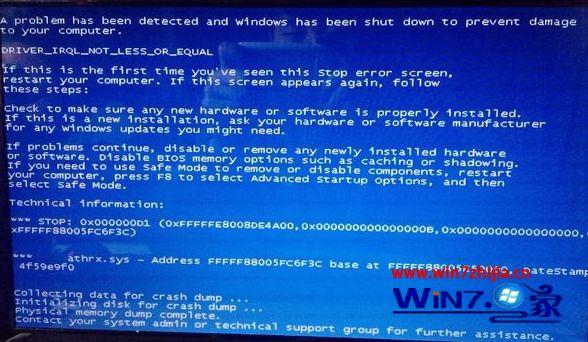win7系统电脑死机后蓝屏出现错误代码0*000000D1的解决方法